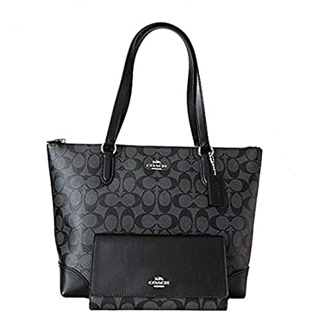 Fashion Shopping New Coach C Signature Purse Hand Bag Tote & Wallet Matching 2 Piece Set Black