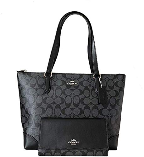 New Coach C Signature Purse Hand Bag Tote & Wallet Matching 2 Piece Set Black