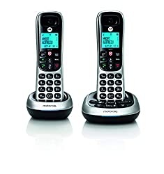 Motorola CD4012 DECT 6.0 Cordless Phone with Answering Machine and Call Block, Silver/Black, 2 Handsets