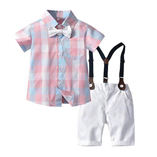 Allence Baby Jungen Bekleidung Set Festliche Kleidung Baumwolle Hemd Hose Hosenträger Taufanzug Gentleman Anzug Fliege Kinderbekleidung (80, Rosa)