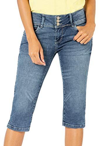 Sublevel Damen Capri Jeans Stretch-Hose aus Ring-Denim Middle-Blue S
