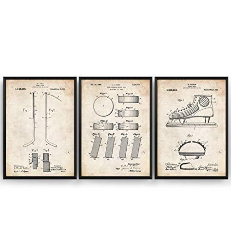 Eishockey Patent Poster - Set Of 3 - Eislaufen Ice Hockey Jahrgang Drucke Drucken Bild Kunst Geschenke Zum Männer Frau Entwurf Dekor Vintage Art Decor - Rahmen Nicht Enthalten