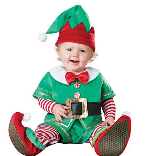 JEELINBORE Baby Jungen Mädchen Weihnachten Strampler Elfen Kostüm Langarm Bodysuit Overall Fancy Dress Xmas Outfit - Elf, 90 (Für höhe 86-95cm)