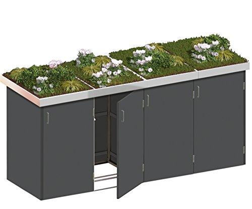 BINTO Mülltonnenbox HPL schiefer System 4P - für vier Mülltonnen inkl. Pflanzschalen