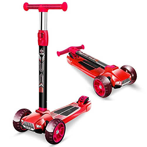 JIANGCJ Patinete infantil, un patinete plegable adecuado para niños, mayores de 2 a 14, 3 ruedas LED y 4 ruedas de altura ajustable, un patinete ligero para niños y niñas, color negro