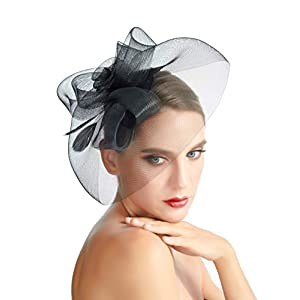 Fascinator Hat Feather Mesh Gauze Cocktail Headwear Pill Box Hair Clip