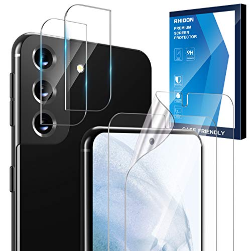 """[4 Pack] 2 Pack Screen Protector for Samsung Galaxy S21 Plus (6.7"""") Soft TPU Film+2 Pack Camera Lens Protector Tempered Glass for Galaxy S21 Plus, Fingerprint ID Compatible Bubble Free"""
