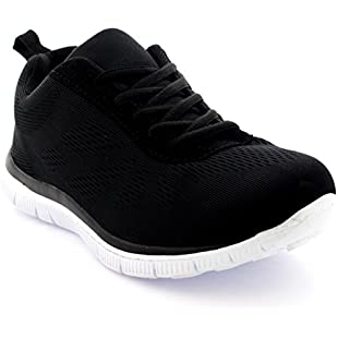 Get Fit Womens Mesh Running Trainers Athletic Walk Gym Shoes Sport Run - Black/White - 7-40 - CD0048