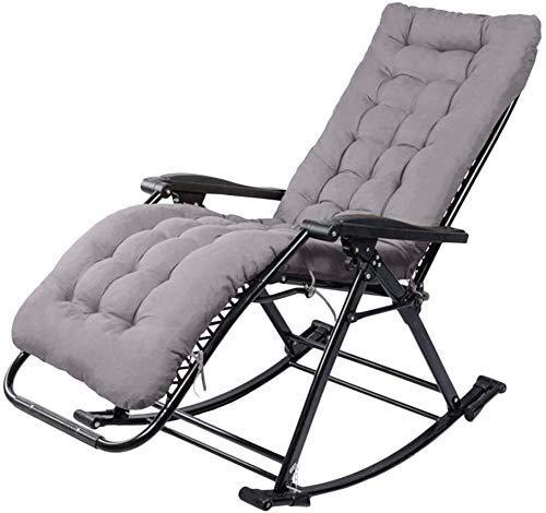 Yuany - Silla de jardín reclinable, sillón balancín de jardín para exteriores, silla de relax, sillón individual acolchado, tumbona de sol (color azul)