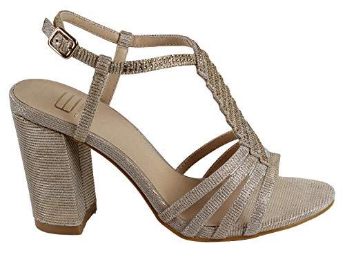 Eferri Zapato de Fiesta Metalizado para Mujer, Oro, 40 EUR
