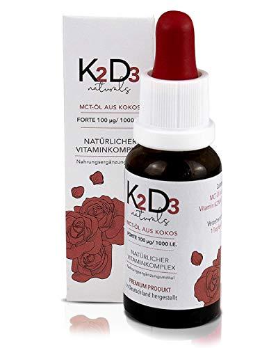 K2 Diagnostic Vitamin K2D3 Tropfen hochdosiert K2 MK7 100µg - Doppelte Vitamin Menge - MCT-Öl aus Kokos 99,7% All-Trans Gehalt von KappaBio, laborgeprüft LaVes, Deutschland (20ml flüssig)