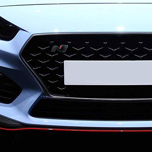 P043 | Kühlergrill Emblem Cover N-Performance Kühlergrill 2er-Set Aufkleber | 3M 2080 Car Wrapping Folie | Car Styling | Dekorset V3 (Schwarz Glanz/Carbon/Rot)