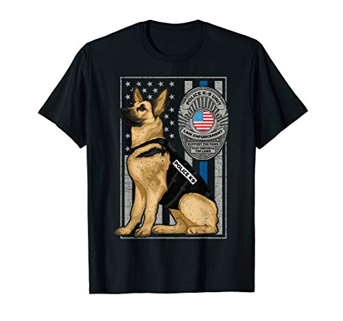 Police K-9 Unit German Shepherd Dog Thin Blue Line T-Shirt