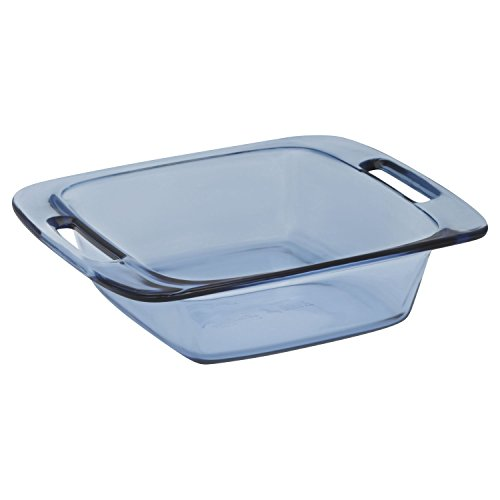 Pyrex Easy Grab 8-Inch Square Baking Dish, Atlantic Blue Glass