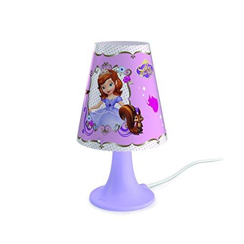 Philips Princesa Sofía - Lámpara de mesa, luz blanca cálida, bombilla LED de 2.3 W, multicolor