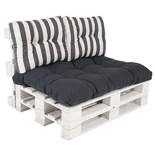 PATIO Palettenkissen Termi 120 x 80 cm Auflagenset Polster für Palettenmöbel Pallettenkissen Sitzkissen Rückenkissen Gesteppt Outdoor/Indoor