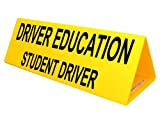 Driver Education Student Driver Yellow Car Topper Sign, 30x10 inch Corrugated Plastic with Powerful Magnets to Hold Tight by ComplianceSigns