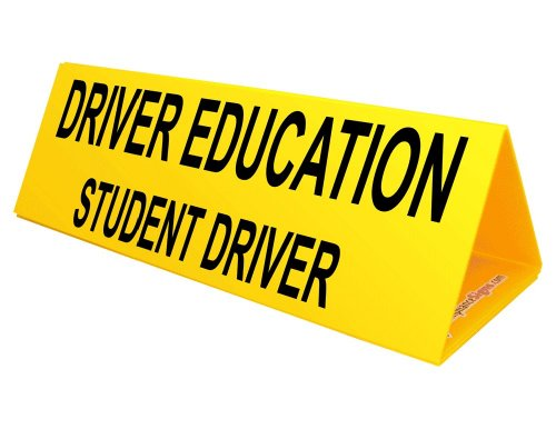 Driver Education Student Driver Yellow Car Topper Sign, 30x10 inch...