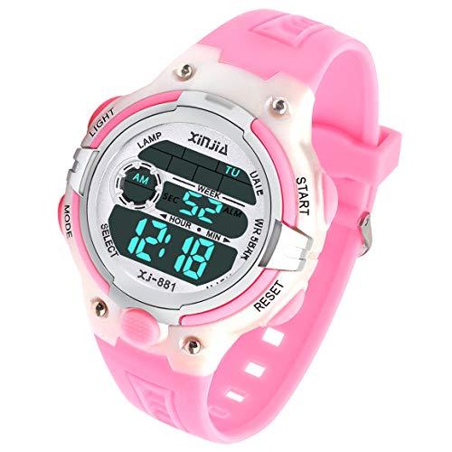 Reloj Digital para Niña Niño,Chicos Chicas 50M Impermeable Deportes al Aire Libre LED Multifuncionales Relojes de Pulsera con Alarma (Rosa)