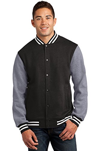 Sport Tek Men's Comfortable Fleece Letterman Jacket Black XXXX-Large