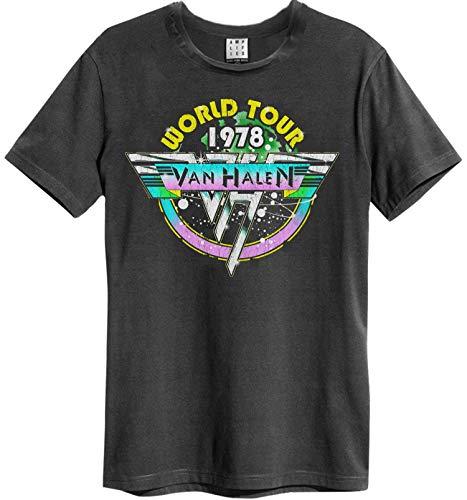 Amplified Van Halen Tour 78 - Camiseta de manga corta para hombre, diseño con logotipo de Van Halen 78, color gris
