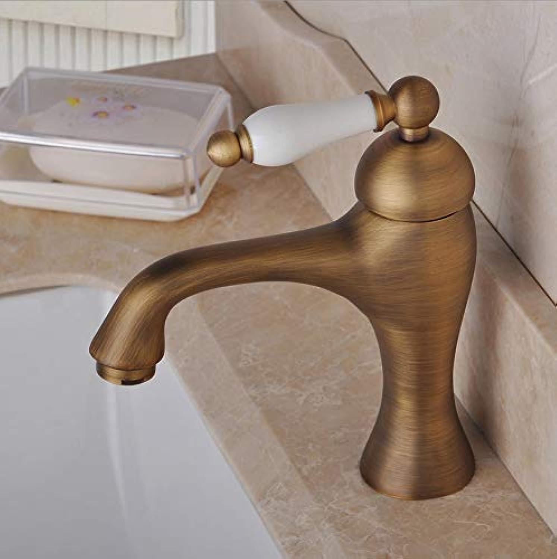 ROKTONG Single Handle Antique Brass Bathroom Sink Basin Mixer Tap