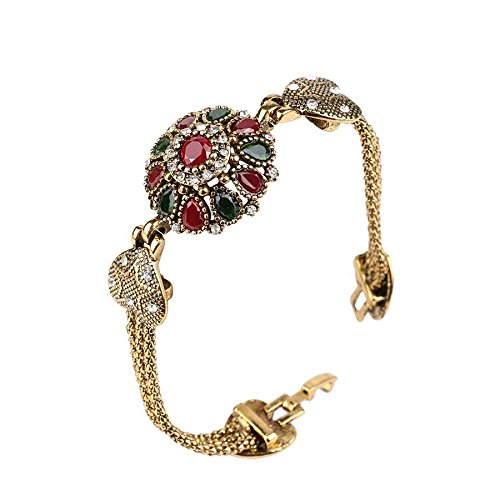 Vintage Pure Antique Gold Emerald Red Resin Bracelet for Women