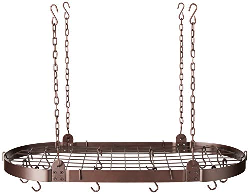 Medium Gauge Oval Hanging Pot Rack with Grid & 12 Hooks