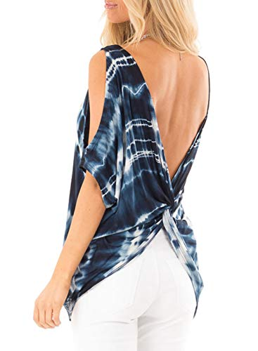 CORAFRITZ Camiseta de verano con hombros descubiertos para mujer, de manga corta, suelta, con nudo torcido, sin espalda, informal, sexy, camisetas holgadas para mujer