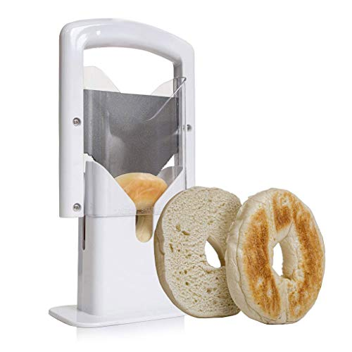 Bagel Slicer, Stainless Steel Kitchen Guillotine Cutter with Safe Grip and Safety Shield for Bagels, Breads, Muffins, Buns, Rolls - Fast, Easy And Safe, White