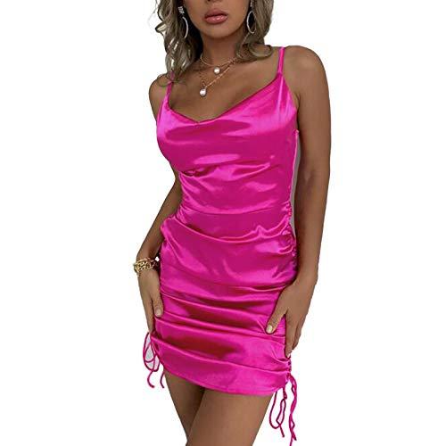 Damen Sexy Riemen Kleid Rüschen Satin Seite Kordelzug Mini Cami Dress (Rose red, S)
