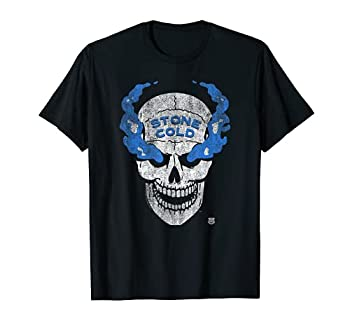 WWE Stone Cold Distressed Blue Smoke Skull T-Shirt