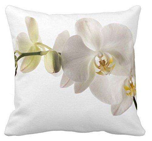 Yqy witte orchidee bloem bloempot gooien kussensloop decoratief, 18x18 inch