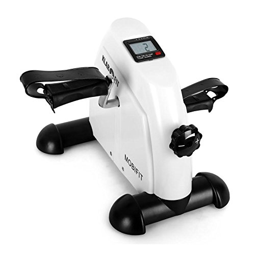 Klarfit Minibike 2G - Mini Ergometro, Minibike, Mini Bicicletta, Cyclette, Trainer Braccia/Gambe, Sistema Volano 2 kg, Resistenza Regolabile, Display LCD, Carico Max 100 kg, Colore Bianco