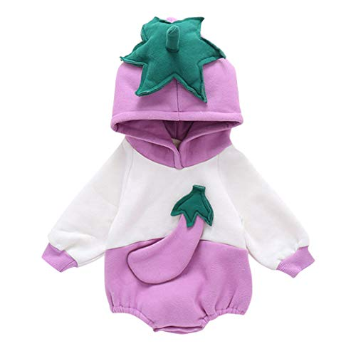 Lurryly 4Th of July Baby Boy Outfit Infant Baby Boys Girls Vegetables Hooded Thick Warm Bodysuit Romper Clothes Purple