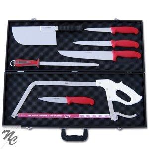 Valigia da macellaio, 7 pezzi, manici in ABS, colore: rosso