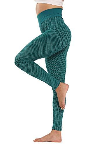 piannao Leggings de gimnasia para mujer, cintura alta, compresión, push up, pantalones de fitness, F-verde., M