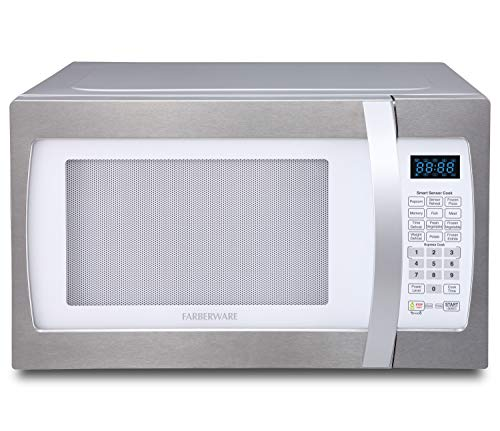 Farberware Professional FMO13AHTPLE 1.3 Cu. Ft. 1100-Watt Microwave Oven with Smart Sensor Cooking, ECO Mode and Blue LED Lighting, White and Platinum