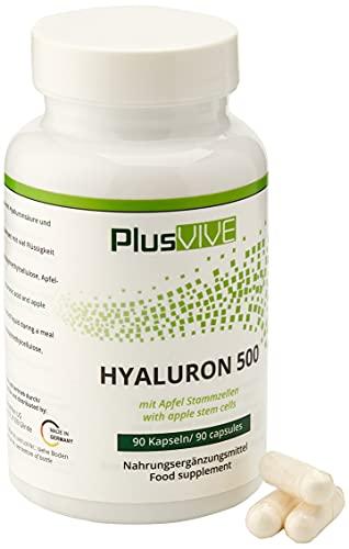 PlusVive - Hyaluron 500 - hochdosiert: 500 mg Hyaluronsäure pro Kapsel - plus 3 mg Apfel Stammzellen - 90 vegane Kapseln - Hergestellt in Deutschland