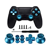 TOMSIN Metal Buttons for DualShock 4, Aluminum Metal Thumbsticks Analog Grip & Bullet Buttons & D-pad for PS4 Controller
