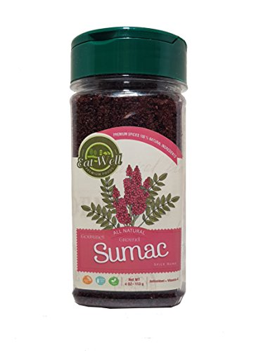 Sumac Spice Powder | 4 oz 113 g | Bulk Ground Sumac Berries - Bran | Extra Grade Turkish Sumac Seasoning | Middle Eastern Spices | Eat Well Premium Food