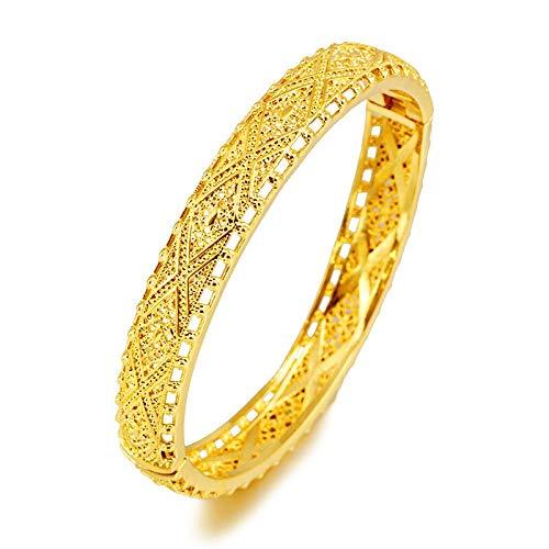 24K Brazaletes De Oro Mujer Oro Dubai Novia Boda Pulsera Turca Etíope Brazalete De África Joyería Árabe Encanto De Oro Pulsera Musulmana