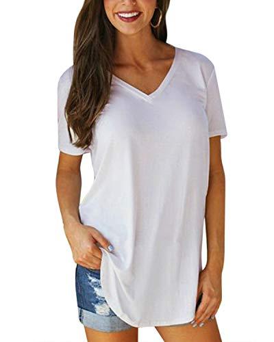 VONDA T-Shirt Donna Estiva Cotone V Scollo Tinta Unita Maglietta Manica Corta Top Casual Case Camicie 1A-Bianco S