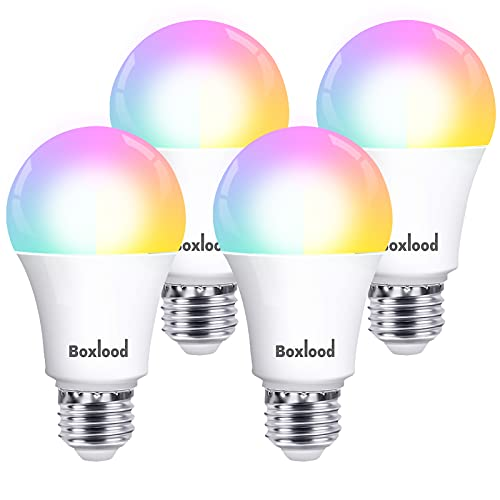 BOXLOOD Lampadina Smart E27 Lampadine Alexa WiFi 7W, 60W Equivalente, Lampada Intelligente LED Dimmerabile Controllo Vocale Compatibile con Google Home, A60 RGB 2700K-6500K, 4 Pezzi
