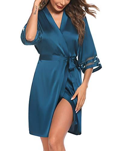 Balancora Satin Peignoir de Bain Femme Robe de Chambre Soie Femme Manches 3/4 Oblique Col V Court Kimono Robe de Demoiselle d'honneur