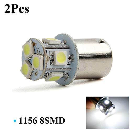 2 bombillas LED de 12 V BA15S R5W 1156 5050 8SMD para señal de giro trasera de coche, color blanco