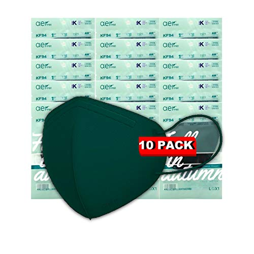 Happy Life Co, Ltd. [AER] Best Selling Holiday Colors Korean Premium Disposable KF94 Face Masks 4-Layer Filters Comfortable Protection, Protective Face Covering Dust Mask, Made in Korea (10, Green)
