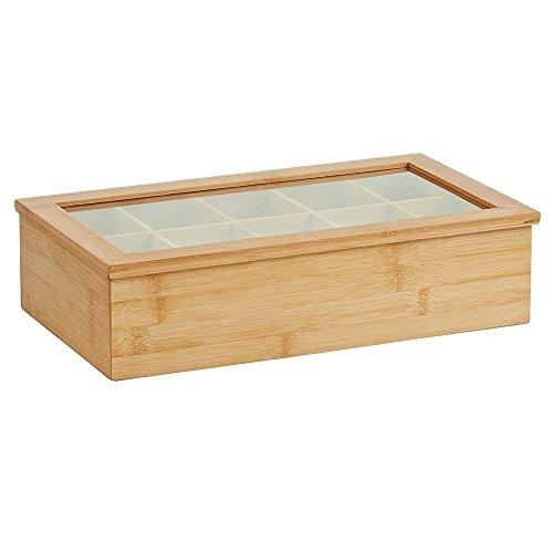 Zeller 25361 Teebeutelbox, Bambus/Acryl, ca. 36x20x9 cm