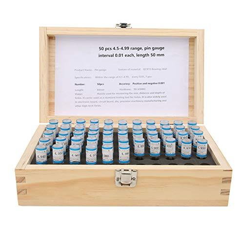 Juego de calibres de pasador de acero para cojinetes GCR15 de 50 piezas, herramienta de medición de apertura de superficie lisa con caja de madera práctica 4,5-4,99 mm 50 mm 0,001 mm de precisión