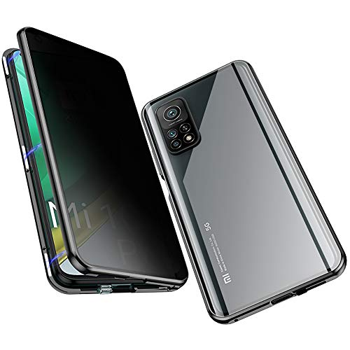 Anti-Spy Case for Xiaomi Mi 10T / Mi 10T Pro, Jonwelsy 360 Degree Front and Back Privacy Tempered Glass Cover, Anti Peeping Screen, Magnetic Adsorption Metal Bumper for Xiaomi Mi 10T Pro (Black)